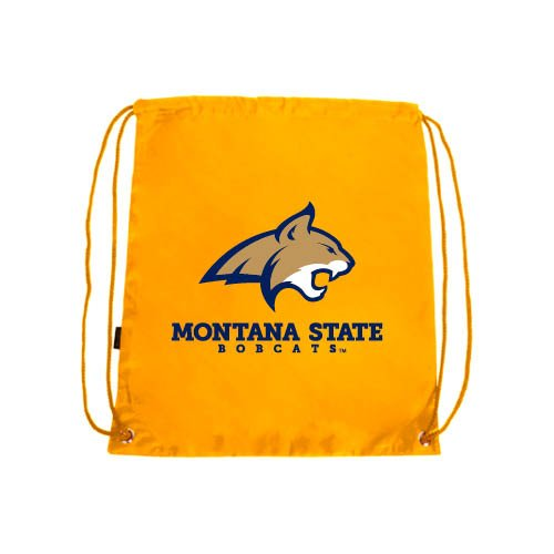 Montana State Gold Drawstring Backpack 'Bobcat Head w/ Montana State Bobcats ()