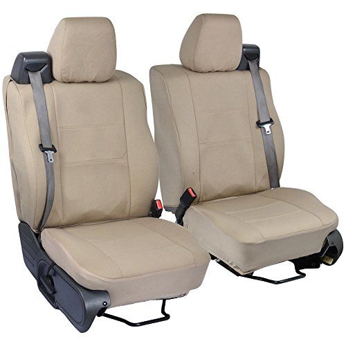 PolyCustom Seat Covers for Ford F-150 Regular & Extended Cab 04-08 - Integrated Seat Belt - EasyWrap Cloth in Beige Tan