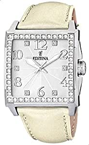 Festina Women's Dream F16571/1 Beige Leather Quartz Watch with Silver Dial