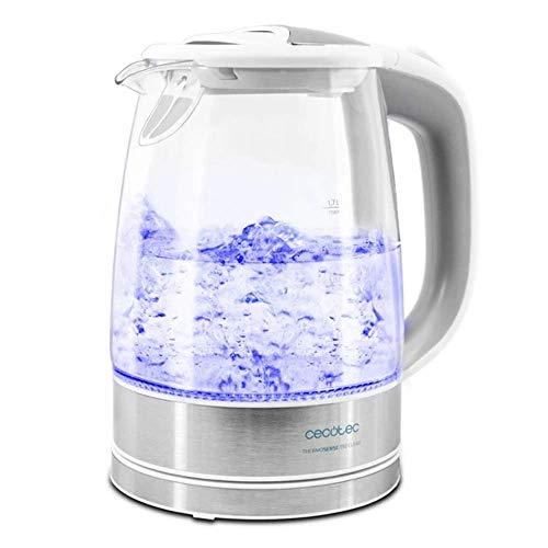Cecotec Hervidor de Agua Electrico ThermoSense 350 Clear 1,7 litros, Libre de BPA, 2200 W de Potencia, Base 360º, Filtro Antical, Doble Sistema de Seguridad, Vidrio Borosilicato