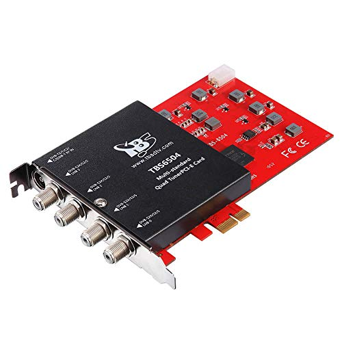 TBS6504 Multi Standard Quad Tuner PCI-e Card Supports Multiple Digital TV Standards Including DVB-S2X/S2/S/T2/T/C2/C/ISDB-T