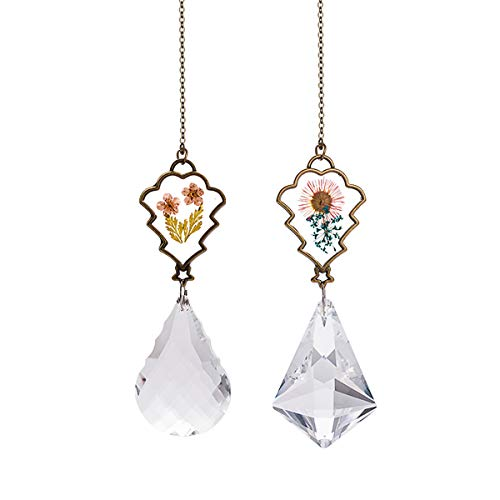 Crystal Suncatcher with Real Embedded Pressed Flower Hanging Pendant Prism Window Ornament Decoration Pack of - Flowers Prism