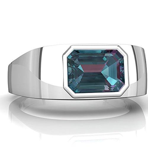 14K White Gold Lab Alexandrite Emerald_Cut Men's Ring - Size 13.5 ()