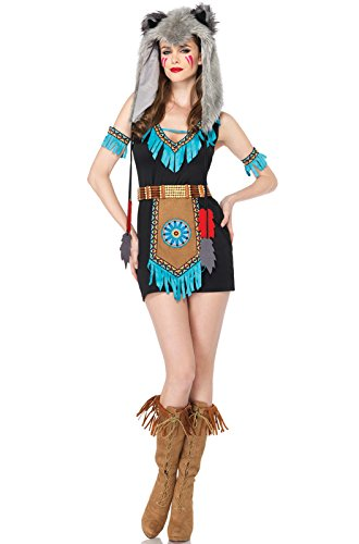 Leg Avenue Women's 4 Piece Wolf Warrior Costume, Brown, Small/Medium - Wolf Costumes Sexy