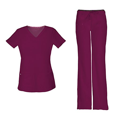 HeartSoul Women's Pitter-Pat Shaped V-Neck Scrub Top 20710 & Heartbreaker Heart Soul Drawstring Scrub Pants 20110 Medical Scrub Set (Wine - Small/Small Petite)