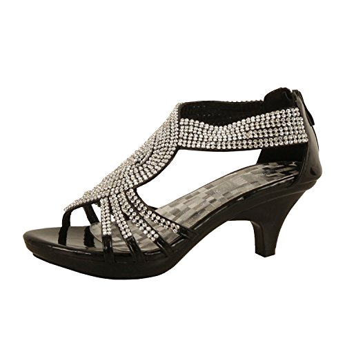 Delicacy Womens Angel-37 Strappy Rhinestone Dress Sandal Low Heel Shoes,Black,10