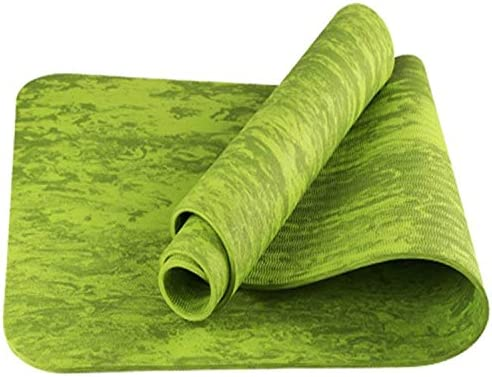 Yoga mat コルクのヨガマット、太いヨガマット太いピラティスヨガピラティスエアロビクス強い構造快適なホームフィットネスマット、ブルー、グリーン、オレンジ、ピンク workout (色 : Green)