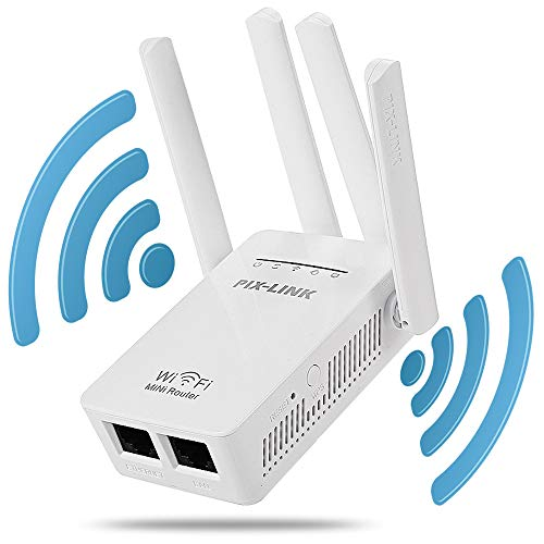 WiFi Repeater with External Antennas WiFi Range Extender 300M Wireless Network Signal Booster Supports Repeater/Router/AP/WISP Mode with LED Indicators White