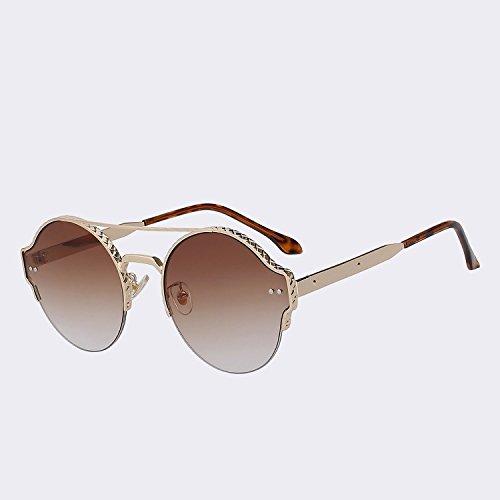 en gafas sol de gafas w alta moda Gold vintage doble hombres espejo Marca remache de de plata mujer diseño calidad de brown de Vigas nuevo UV400 TIANLIANG04 de metal lentes vXYqP