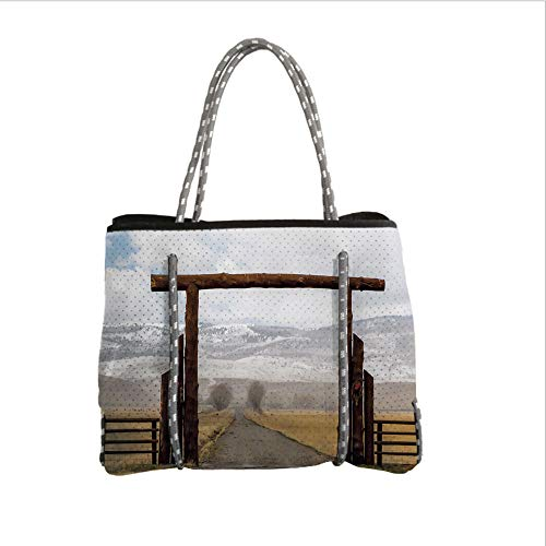 Neoprene Multipurpose Beach Bag Tote Bags,Western,Big Log Gate Lane Montana Cattle Ranch in Winter Countryside Hills Cloudy Sky Decorative,Brown Grey Blue,Women Casual Handbag Tote Bags