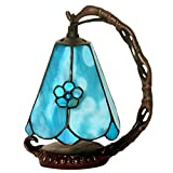 RXY-LAMP Lucky Flower Stained Glass Night Light, Bedside Artwork Small Ornaments (Color : Blue, Size : 15x20cm)