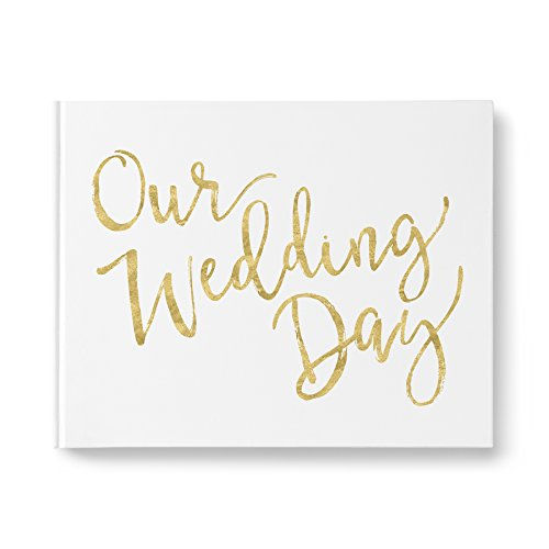 please + thanks Wedding Guest Book, Real Metallic Gold Foil Cover Design, White Casebound Hardcover, 50 Acid-Free Blank White Interior Sheets (100 Total Pages) (10.9 x 8.75 Inches)