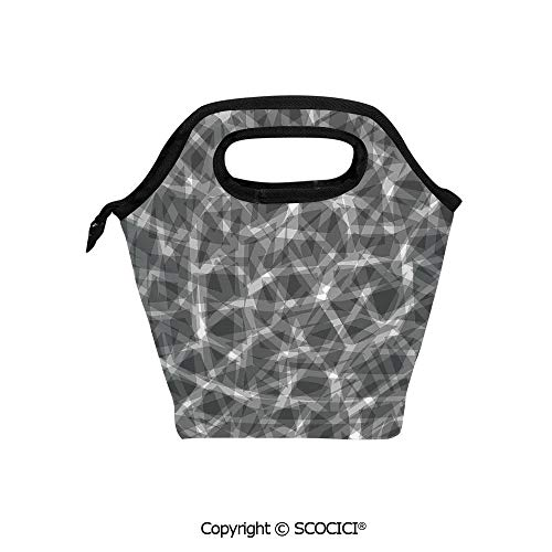 Picnic Food Insulated Cooler Tote Lunch Bag Trippy Grunge Haze Display with Fractal Pieces Parts Lines Contemporary Bents Organizer Lunchbox for Women Men Kids. (Haze Deck)