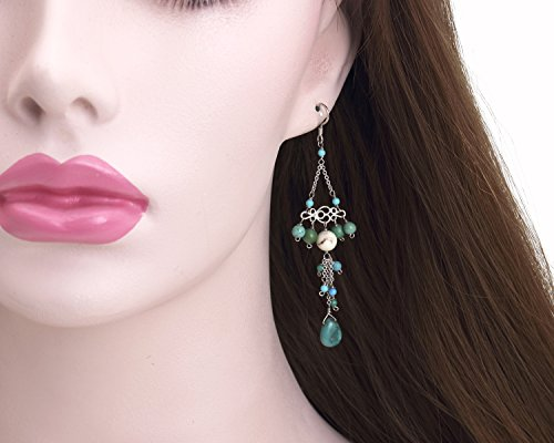 Turquoise Dangle Earrings, Cluster Sterling Silver Earrings, Turquoise chandelier Earrings, Rhodium Plated 925 sterling silver Dangle ()