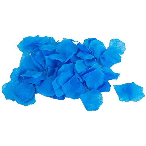 Blue Silk Rose Petals (Blue Silk Flower Artificial Rose petals for Wedding Aisle, Party Favor & Table, Vase, Home Decoration by Royal Imports, 1000 PCS)