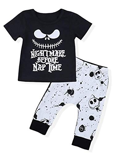 Toddler Baby Boy Clothes 2Pcs Outfit Set Nightmare Printing Short Sleeve and Skull Pants Kids Clothes (6-12Month,80) -