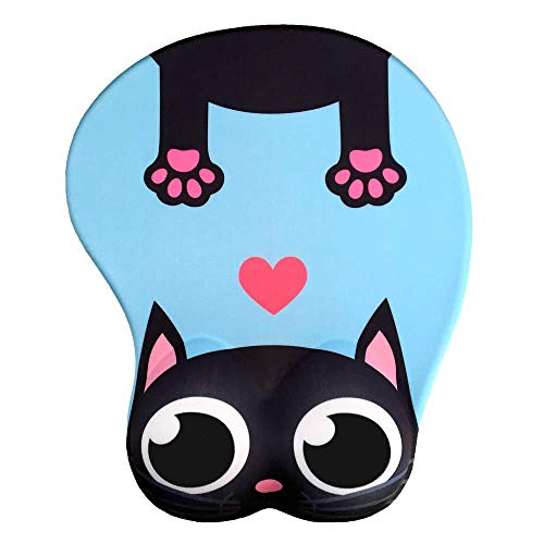 Cute Cat 3D Mouse Pad Soft Silicon Gel Mousepad with Wrist Support Ergonomic Mouse Pad Animal Mouse Mat for PC Mac (Blue) ()
