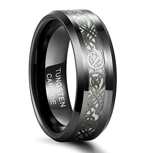 Frank S.Burton 8mm Glow Rings for Men Tungsten Carbide Wedding Band Celtic Dragon Ring Beveled Edge Plated Comfort Fit Size 7.5 -