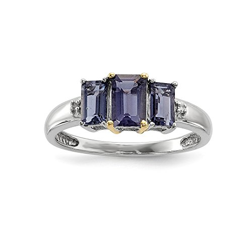 925 Sterling Silver and 14k Yellow Gold 1.04Ct Iolite and Diamond 3 stone Ring Size 8