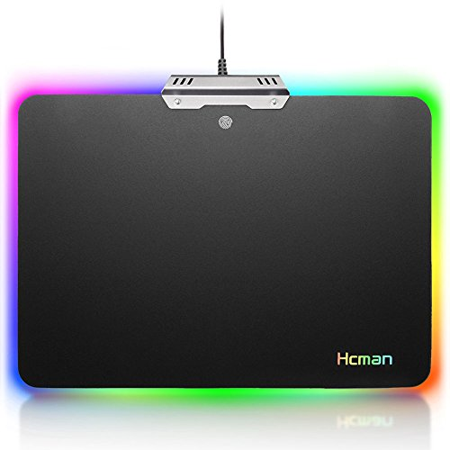 Led Gaming Mouse Pad Large - Hcman Comfortable RGB Lighting Big Hard Computer Mice Mat for Gamer, Waterproof ,14.8x11.9 Inches Black