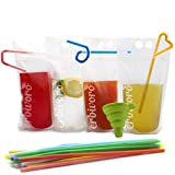 Premium 100-Pcs erbivoro Drink Pouches, Double Zipper Spill Proof, Fill Line Mark, and Stand-Up Pouch for Cold & Hot Drinks – On-The-Go Smoothies or Any Beverage (with Flexible Straws and Funnel) Review