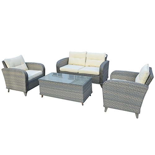 Strong Camel Outdoor Garden Patio Rattan Wicker Sofa Sets Chairs Patio Furniture 4pcs Lounge Chaise & Coffee Table price