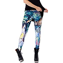 Zanuce Women's 3D Digital Print Cartoon Legging with Various Designs(Cheshire Cat Nana)