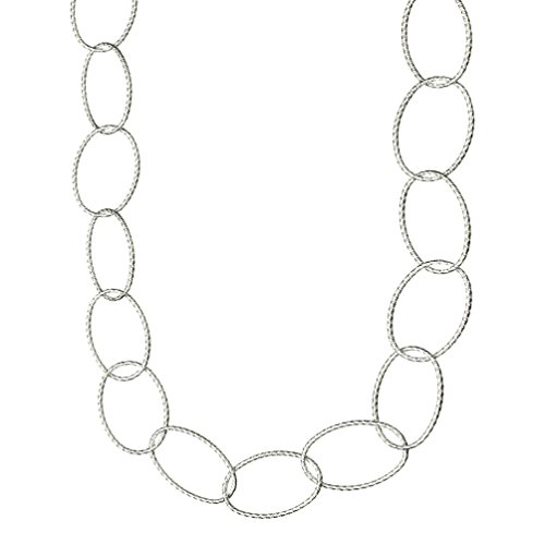(Oval Sterling Silver Diamond-Cut Large Links Necklace Italy 24 Inch)