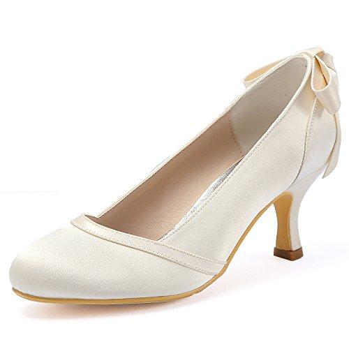 Mi Talon Bout Elegantpark Hc1804 Chaussures Femme Escarpins Arc Satin Mariée De Mariage Ivoire Fermé dChrxsQt