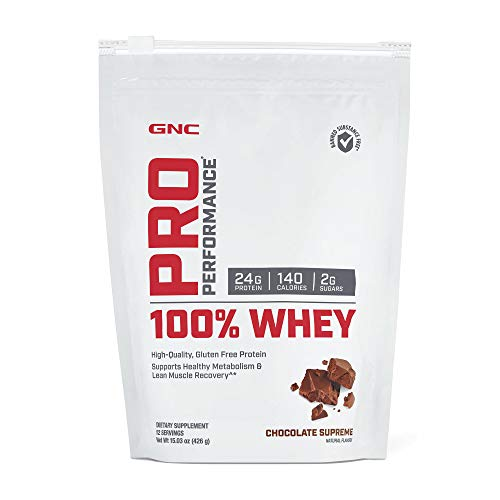 GNC Pro Performance 100% Whey, Chocolate Supreme, 12 Servings, Supports Healthy Metabolism and Lean Muscle Recovery