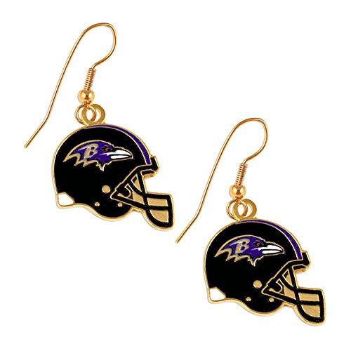 aminco Sports Team Baltimore Ravens J Hook Dangle Logo Earring Set by aminco