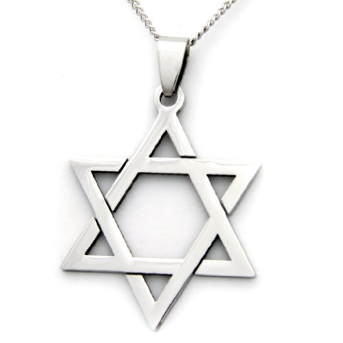 Jewish Star Of David Pendant Necklace - Stainless Steel Religious Necklace - Kabbalah Jewelry