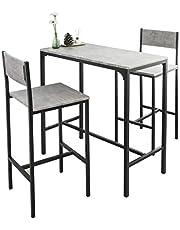 SoBuy stół z krzesłami stolik barowy stoły z krzesłami Szary industrialny, OGT03-HG
