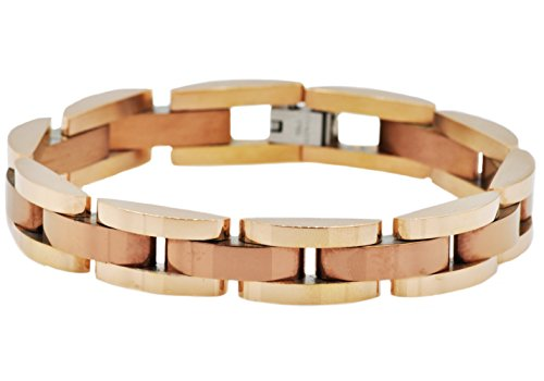 Blackjack Jewelry Polished Chocolate/18k Rose Gold Plated Stainless Steel Semi Circle Link Bracelet