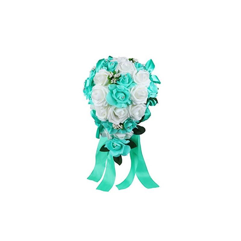 silk flower arrangements vlovelife wedding bouquet mix white & teal blue pe rose flowers bridal bridesmaid bouquets artificial flower satin ribbon decor handmade posy pearl rhinestone plant leaf vine decor