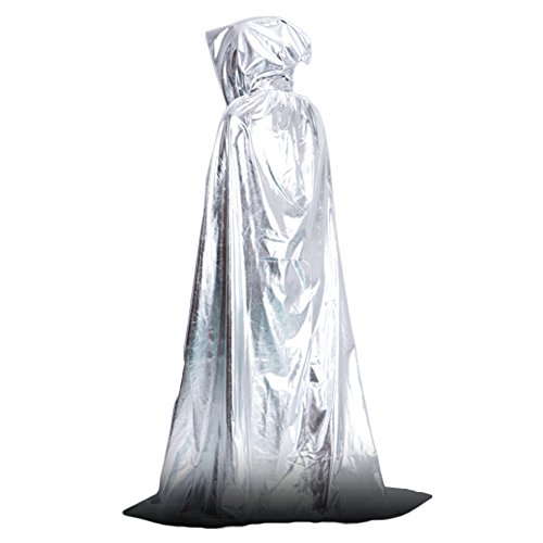 Pcongreat Pcongreat New Halloween Makeup Props Special Festival Offers Vampire Hooded Cloak Medieval Witch Robe Cape Floor-length Halloween Costume Silver -
