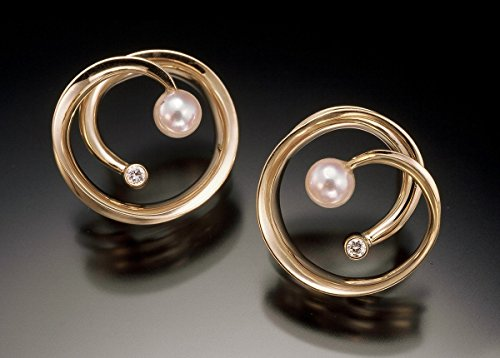 14K Gold diamond and pearl earrings