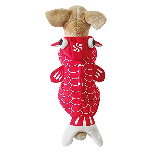 Mogoko Dog Fish Costumes Goldfish Cosplay Dress, Red Cat Pet Halloween Christmas Apparel, Animal Funny Outfits Clothes with Hoodie(M Size)