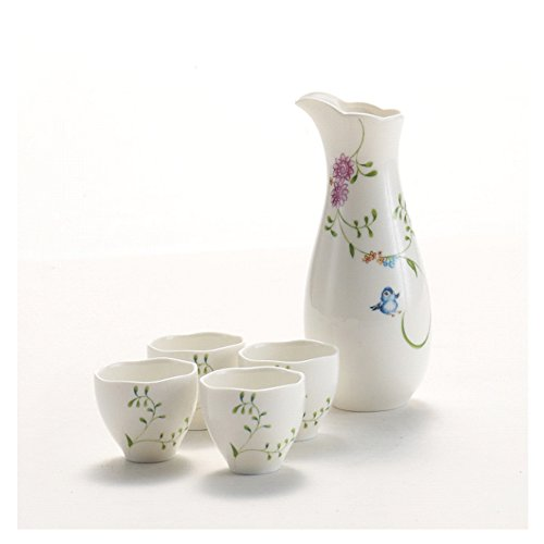 Hotoco 5 Piece Ceramic White Traditional Japanese Sake Set with Flower Design by Hotoco