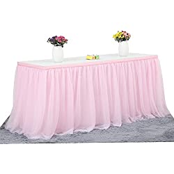 CHIGER Tulle Table Skirt High-end Gold Brim Mesh Fluffy 2 Yards Tutu Table Skirt For Party,Wedding,Birthday Party&Home Decoration (6FT X 0.8M, Pink)