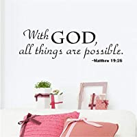 Religious Wall Quote Letters With God All Things are Possible DIY Art Carved Wall Sticker Home Wall Decor