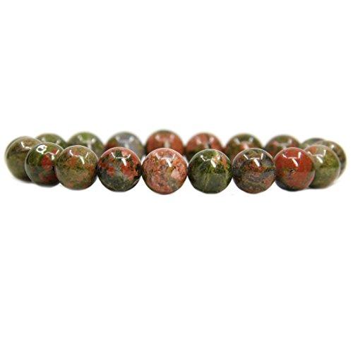 - Amandastone Natural Unakite Genuine Semi-Precious Gemstones Healing 10mm Beaded Stretch Bracelet 7