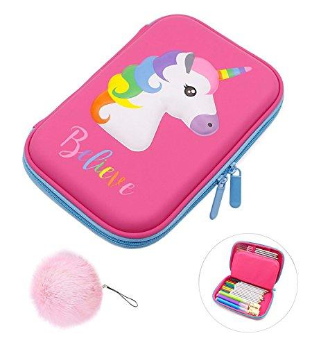 Pencil Case, Unicorn EVA Pen Pouch Stationery Box Anti-shock for School Students Girls Teens Kids (Pink) (School Pencil Box)