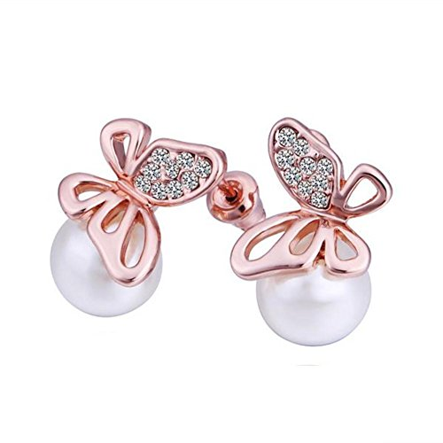 Green Earrings/Rose Gold Earrings/Butterfly Shaped Earring/Birthday Party Earrings