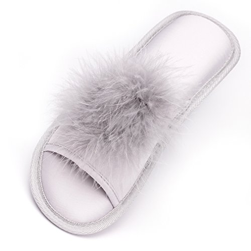 Women Open Toe Slippers | Pom Pom Fur Slippers | House Slide Clog| Slip on Indoor Outdoor Shoes | Memory Foam Anti-Slip Sole (8-9, Silver Pom) by Caramella Bubble (Image #1)