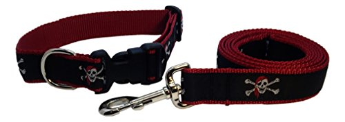 Preston Pirate Dog Collar and Leash Set - Skull and Crossbones on Black Ribbon with Red Nylon Webbing -