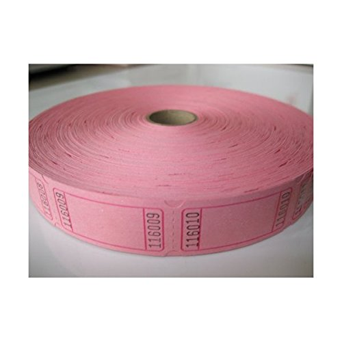 Pink Raffle Tickets - 1 X 2000 Blank Pink Single Roll Consecutively Numbered Raffle Tickets