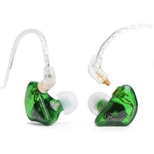 BASN Professional in-Ear Monitor Headphones with 2 Dynamic Drivers 1 Balanced Armature and MMCX Connector Earphones for Singers Drummers Musicians (Bmaster Clear Green)