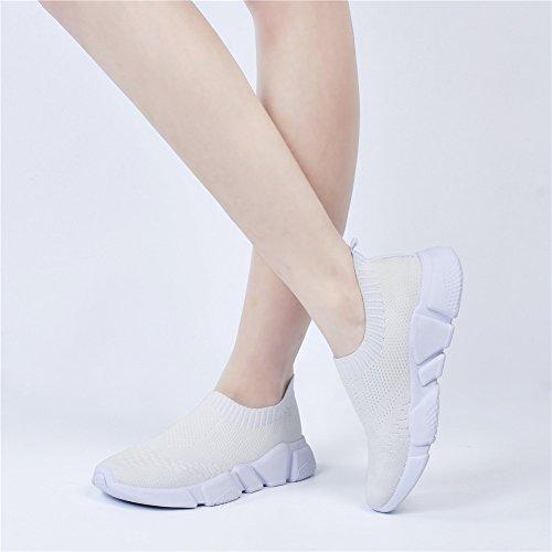 Qansi Kvinna Sneakers Mush Ultralätt Athletic Tennis Kör Andas Vatten Skor Täpper Sandaler Vita