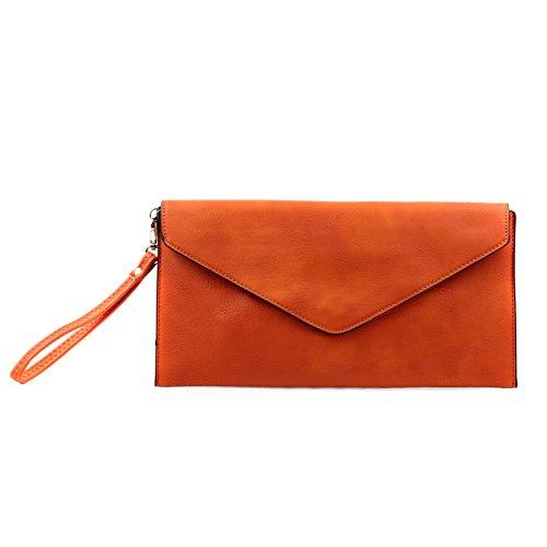 Aossta Ladies Envelope Evening Clutch Wedding Party Bags (L001 Deep Orange)